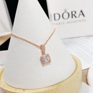🎆NWT Pandora Square Sparkle Halo Chain Necklace